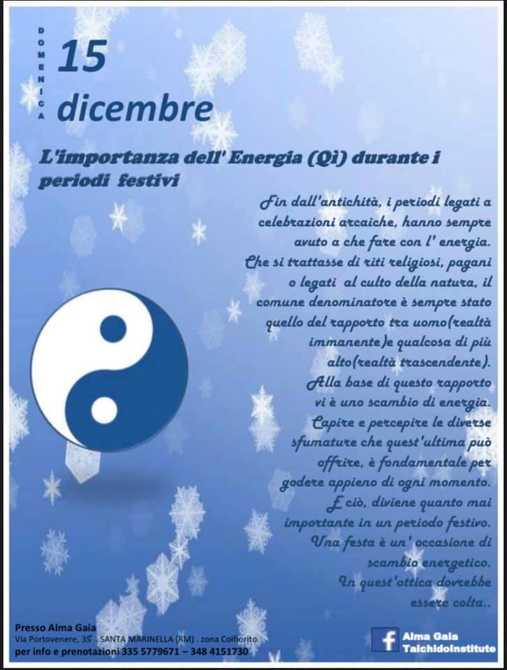 L'importanza dell'Energia (Qì) durante i periodi festivi – domenica 15 dicembre ore 9.30